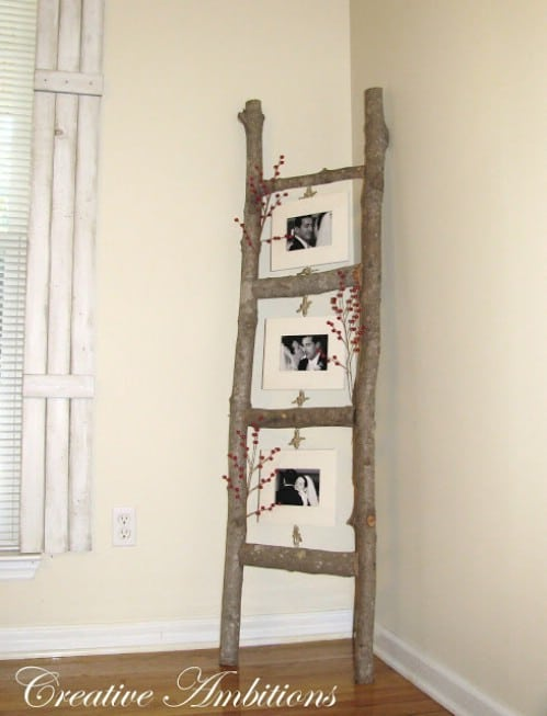 Rustic Photo Ladder - 40 Rustic Home Decor Ideas You Can Build Yourself