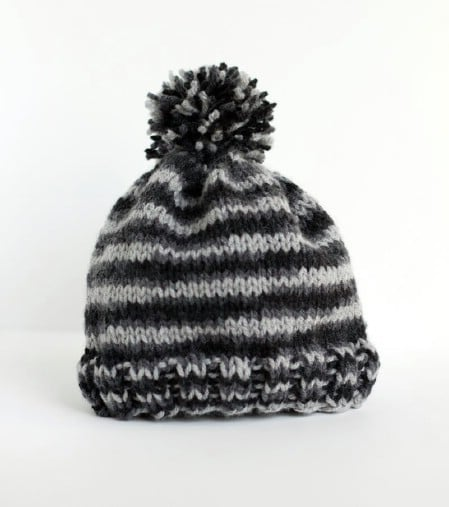 Knit Hat with Pom Pom - 30 Super Easy Knitting and Crochet Patterns for Beginners