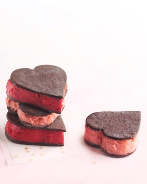 Heart Shaped Sorbet Sandwiches - 20 Tasty and Romantic Valentine's Day Treats You Will Love