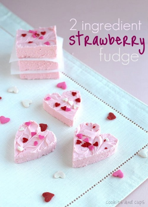 2 Ingredient Strawberry Fudge - 20 Tasty and Romantic Valentine's Day Treats You Will Love