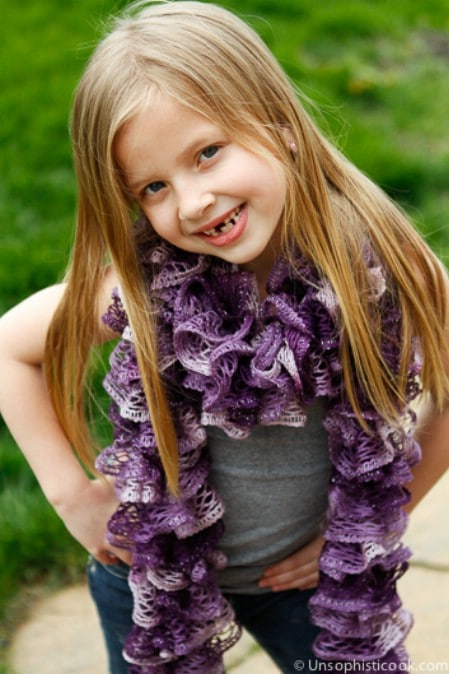 Frilly Knit Scarf - 30 Super Easy Knitting and Crochet Patterns for Beginners