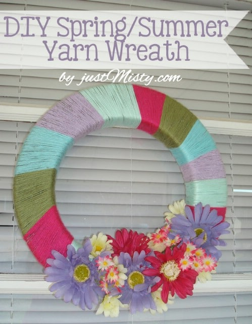 Colorful Yarn Wreath - 80 Fabulous Easter Decorations You Can Make Yourself