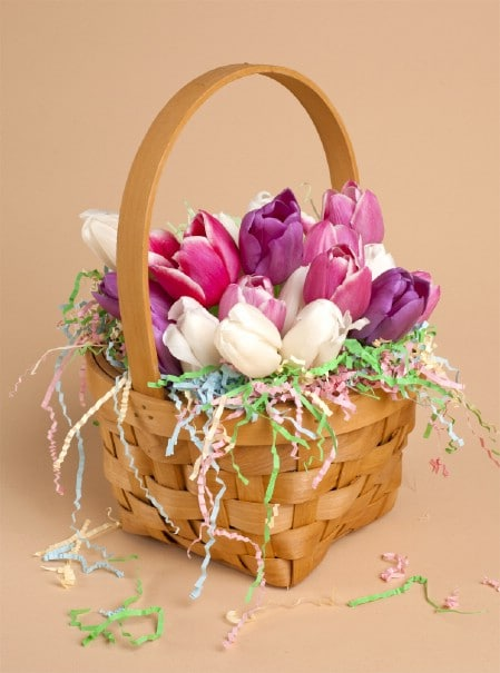 Basket of Tulips - 40 Beautiful DIY Easter Centerpieces to Dress Up Your Dinner Table
