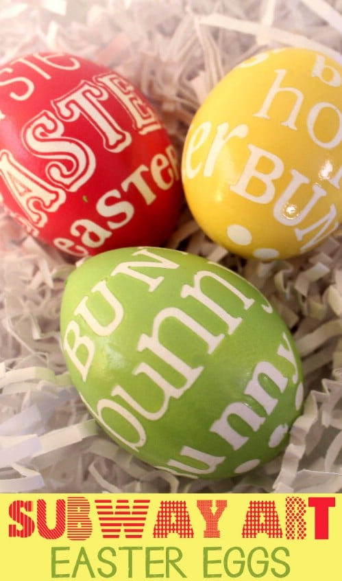 Subway Art Easter Eggs - 80 Creative and Fun Easter Egg Decorating and Craft Ideas
