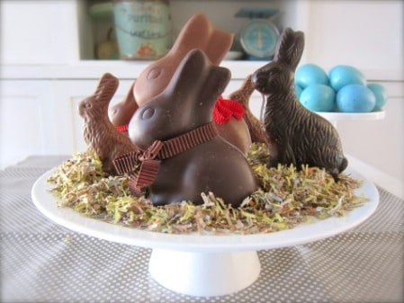 Chocolate Bunnies Centerpiece - 40 Beautiful DIY Easter Centerpieces to Dress Up Your Dinner Table