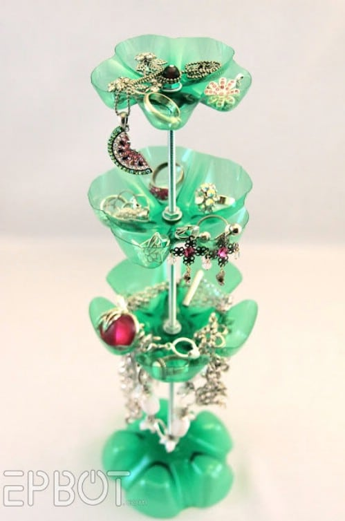 Jewelry Stand - 20 Fun and Creative Crafts with Plastic Soda Bottles