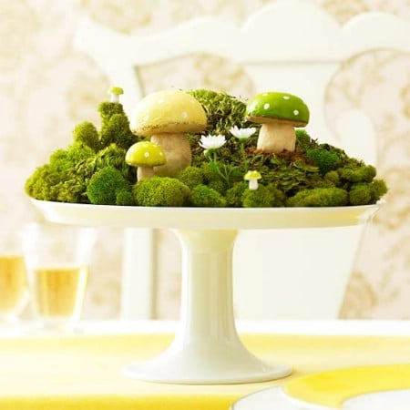 Green Mushroom Centerpiece - 40 Beautiful DIY Easter Centerpieces to Dress Up Your Dinner Table
