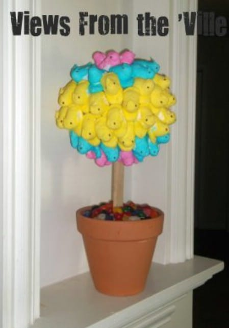 Peeps Topiary - 40 Beautiful DIY Easter Centerpieces to Dress Up Your Dinner Table