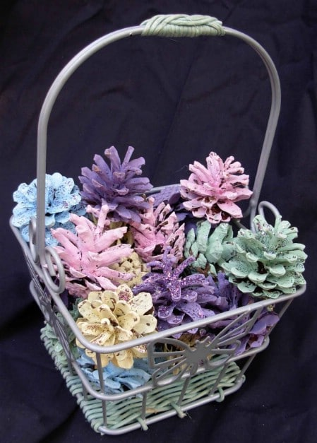 Painted Pinecone Centerpiece - 40 Beautiful DIY Easter Centerpieces to Dress Up Your Dinner Table