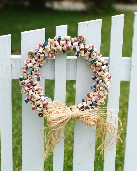 Spools of Thread Wreath - 40 Creative DIY Easter Wreath Ideas to Beautify Your Home