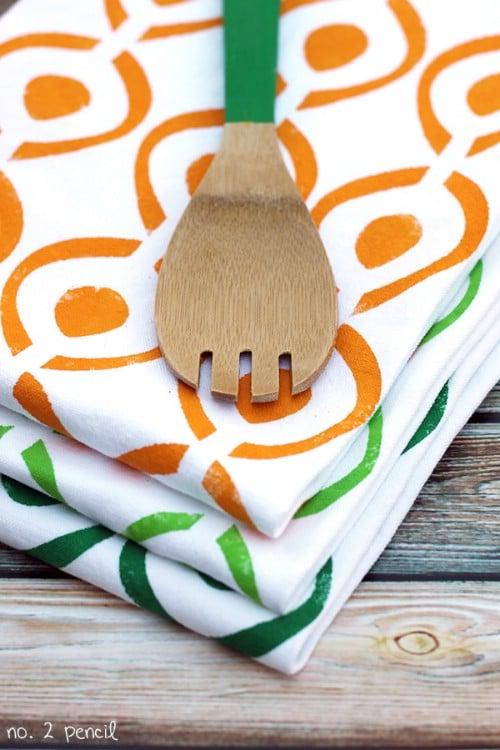 Stenciled Tea Towels