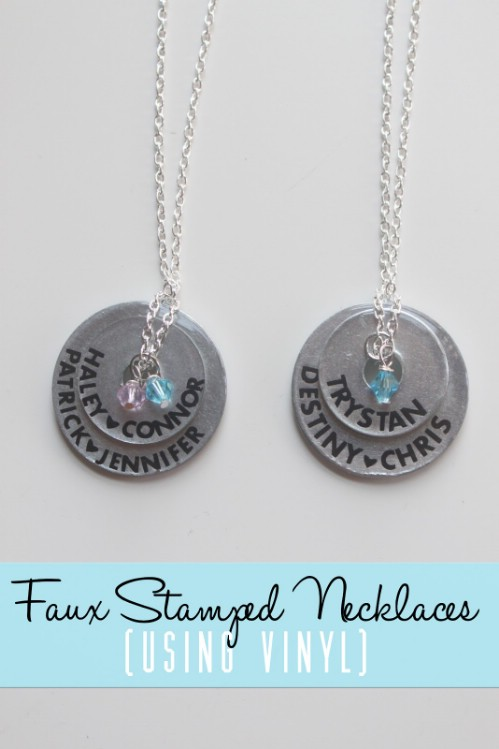 Faux Stamped Mother's Necklace