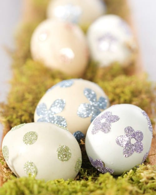 Glittery Sticker Easter Eggs - 80 Creative and Fun Easter Egg Decorating and Craft Ideas