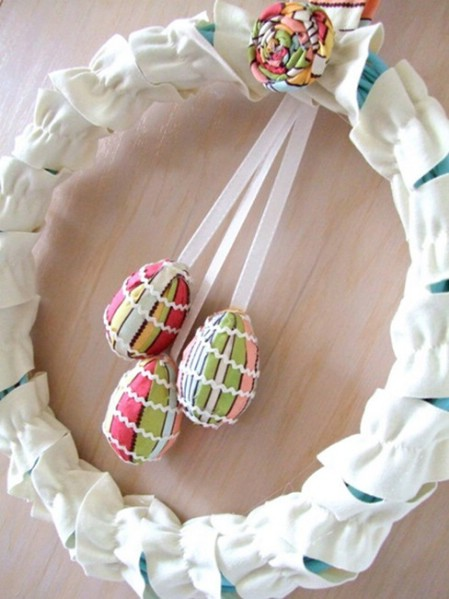 Elegant Fabric Wreath - 40 Creative DIY Easter Wreath Ideas to Beautify Your Home