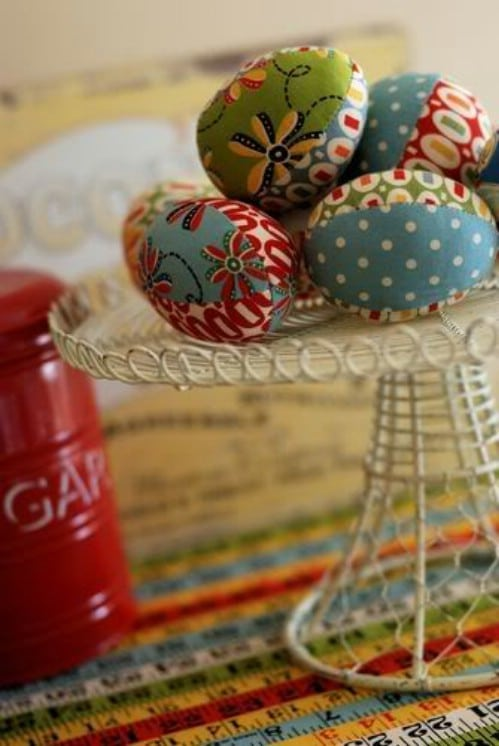 Fabric Covered Easter Eggs - 80 Creative and Fun Easter Egg Decorating and Craft Ideas