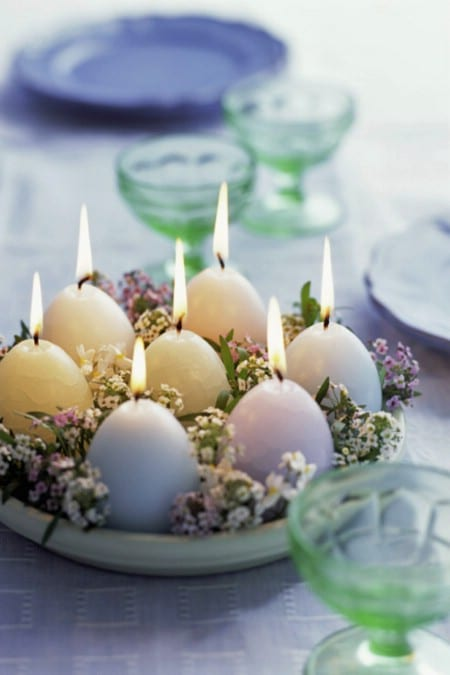 Egg Candles - 40 Beautiful DIY Easter Centerpieces to Dress Up Your Dinner Table