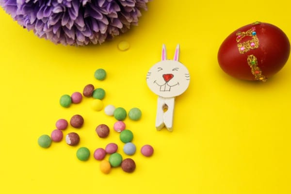 Cute Wooden Clothespin Easter Bunny Decoration