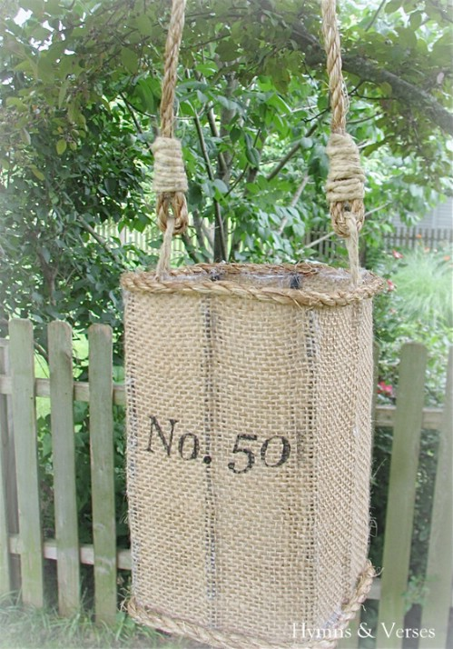 Anthropologie Inspired Jute Hurricane Lantern