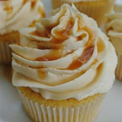 Almond Cupcakes with Salted Caramel Buttercream Frosting