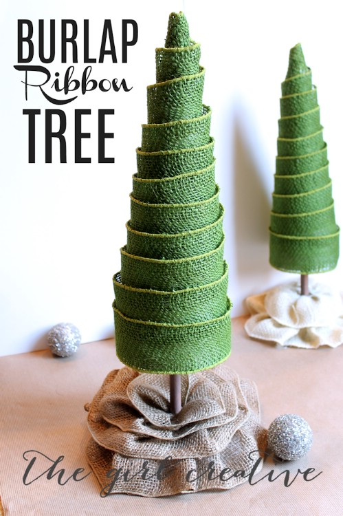 Burlap Ribbon Trees