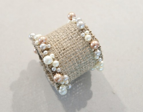 Beaded Burlap Napkin Rings