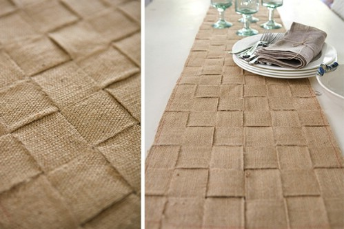 Basket Weave Burlap Table Runner