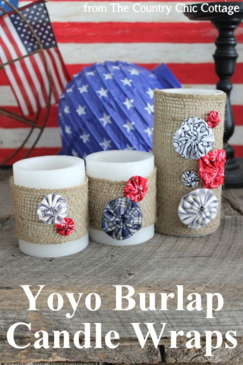 Patriotic Yo-Yo Candle Wraps