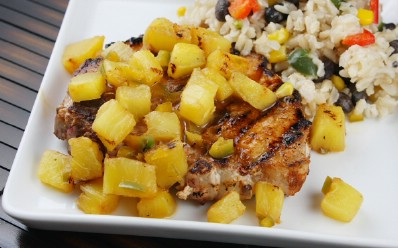 Chili Rubbed Pork Chops with Pineapple Salsa