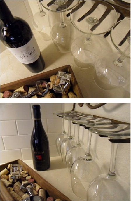 Make A Wineglass Holder From A Broken Rake