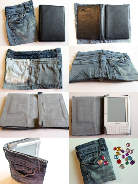 Make A Kindle Cozy From Torn Jeans