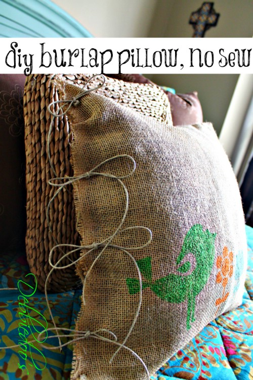 No-Sew Stenciled Burlap Pillows