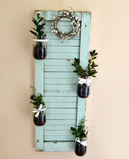 Turn Broken Shutters Into Garden Holders