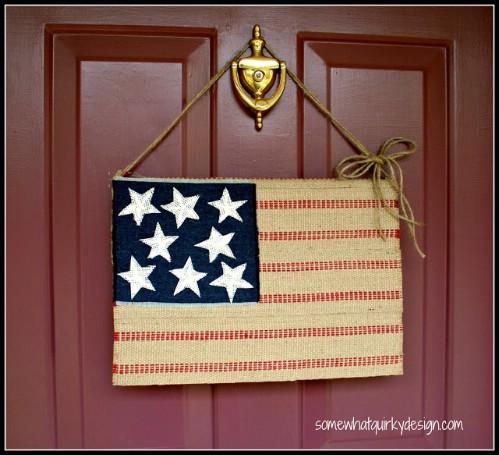 Patriotic Burlap Flag