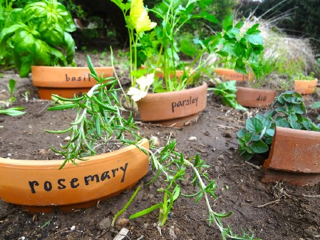 Use Broken Pots As Garden Markers