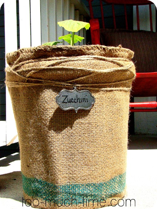Burlap Flower Pot
