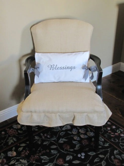 Reupholstered Burlap Chair