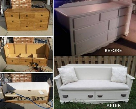 Make A Beautiful Bench From That Broken Dresser