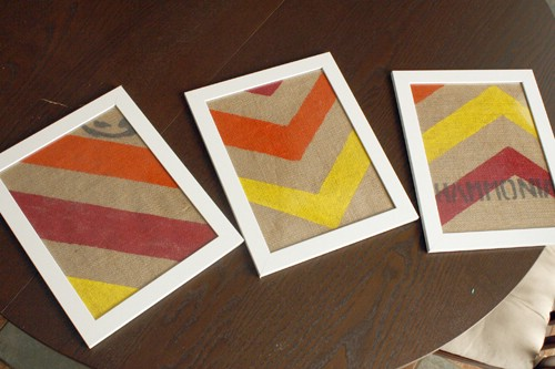 Burlap Chevron Paintings