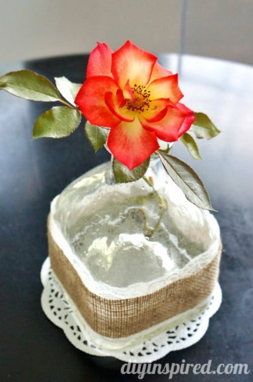 Recycled Patron Vase in Burlap