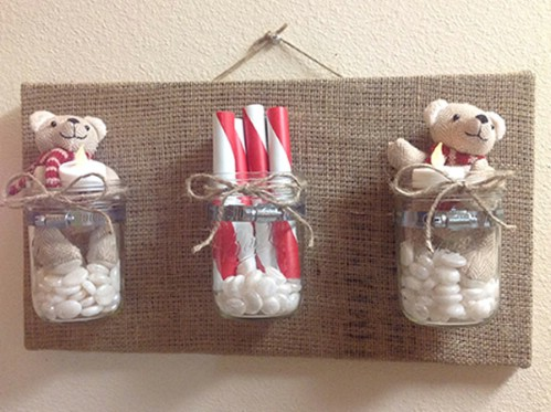 Burlap and Mason Jar Storage