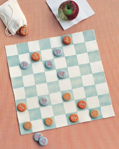 Homemade Canvas Checkerboard And Bottle Cap Checkers