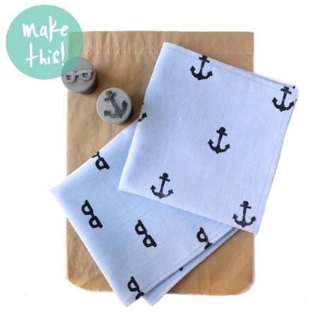 Hand Stamped Handkerchief