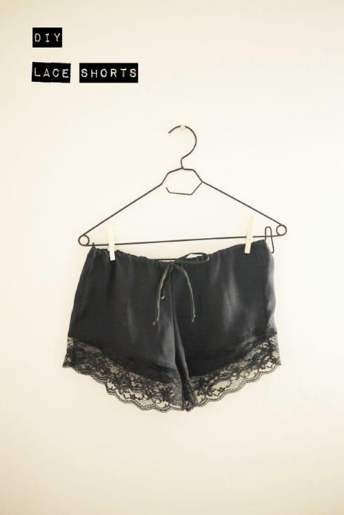 DIY Silk and Lace Shorts