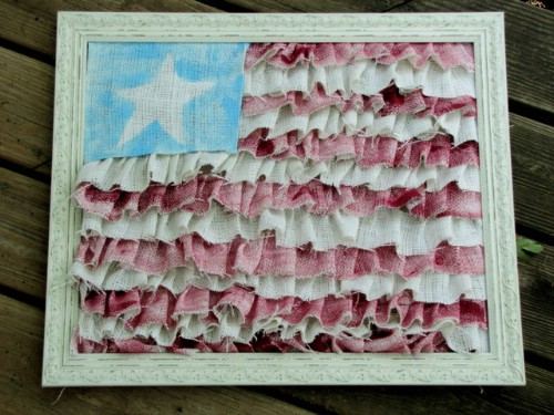 Red White and Blue Burlap Framed Flag