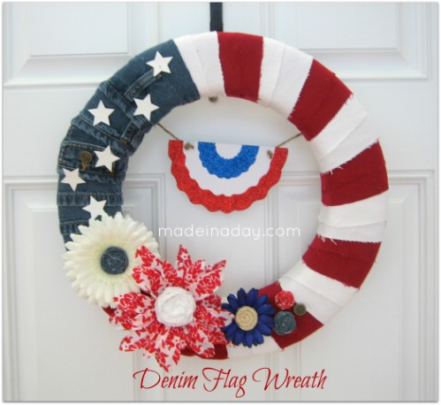 Denim Flag Wreath