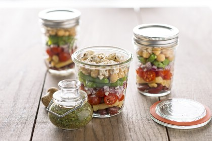 Layered Bean Salad with Feta Cheese
