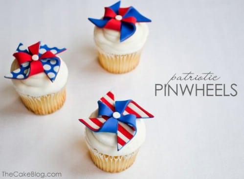 Fun Patriotic Pinwheel Cupcakes