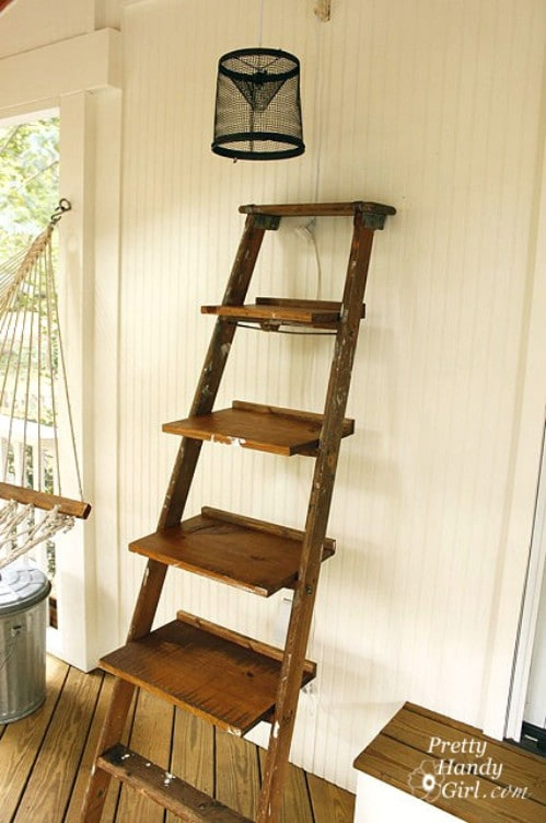 Recycled Ladder Shelves