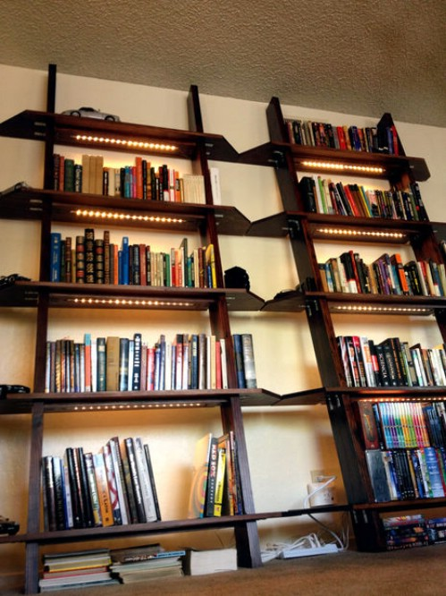 Leaning Bookshelves with Lighting