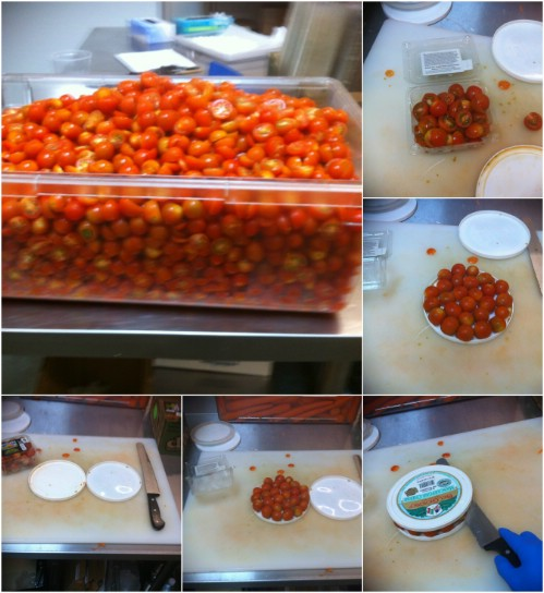 Slice a lot of cherry tomatoes simultaneously.
